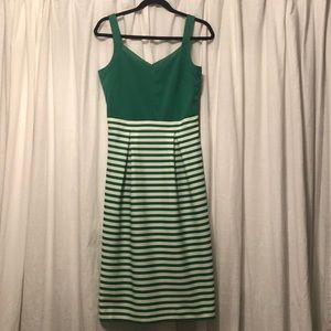 Green and White Striped Garden Dress